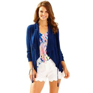 LILLY PULITZER Elyn Cardigan Sweater Navy Blue Q33